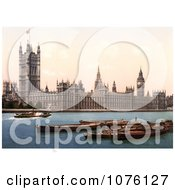 Steamboat On The Thames River Passing By The Houses Of Parliament And The Big Ben Clock Tower In London England UK Royalty Free Stock Photography by JVPD