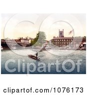 Steamboats And Gondoliers Near The Red Lion Hotel In Henley On Thames On The Banks Of The Thames River In London England UK Royalty Free Stock Photography by JVPD