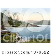 Steamer At The Howtown Pier On Ullswater Lake District England United Kingdom Royalty Free Stock Photography by JVPD