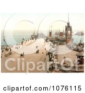 Steamers And Sailboats In The Harbor And People Near The Clock Tower On Victoria Pier Douglas Isle Of Man England Royalty Free Stock Photography