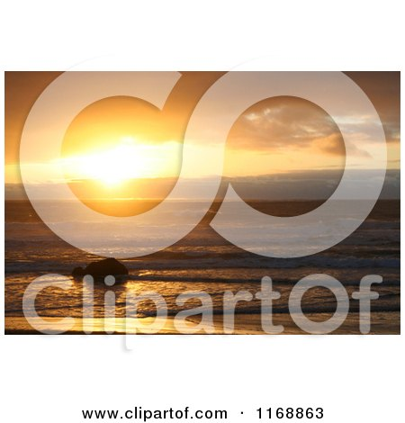 Stock Photo of a Gold Beach Oregon Sunset in Orange Tones - Royalty Free Nature Photography by Jamers