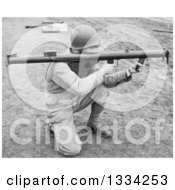 Stock Photograph Of A Black And White Kneeling Us Army Soldier Holding A Bazooka Royalty Free Picture
