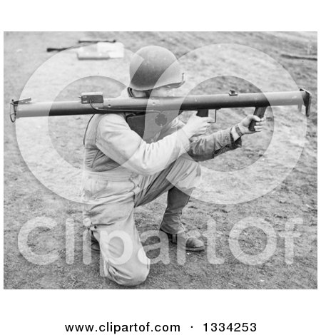 Stock Photograph of a Black and White Kneeling Us Army Soldier Holding a Bazooka - Royalty Free Picture by Picsburg