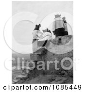 The Backs Of Four Hopi Native American Women Seated On A Roof At The Top Of Stairs On A Walpi Pueblo 1904 Free Historical Stock Photography