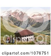 The Gasthof Valentini Sellajoch Building And Marmolada As Seen From The Sellajoch Tyrol Austria Royalty Free Stock Photography