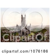 The Gloucester Cathedral And Steeple Of Another Church Surrounded By Buildings In Gloucester England UK Royalty Free Stock Photography