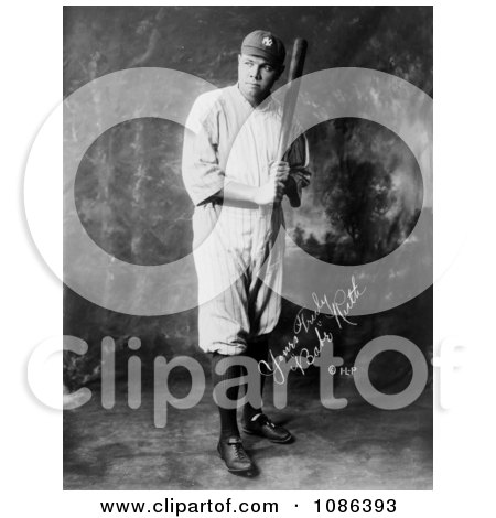 The Great Bambino With a Bat - Free Historical Baseball Stock Photography by JVPD