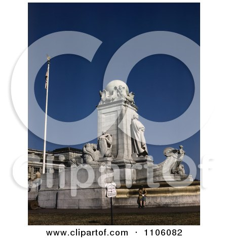 The Lions, Native, Eagles and Globe at the Marble Christopher Columbus Memorial in Washington DC - Royalty Free Historical Stock Photo by JVPD
