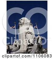 The Marble Christopher Columbus Statue Against A Deep Blue Sky In Front Of The Union Station In Washington DC Royalty Free Historical Stock Photo by JVPD