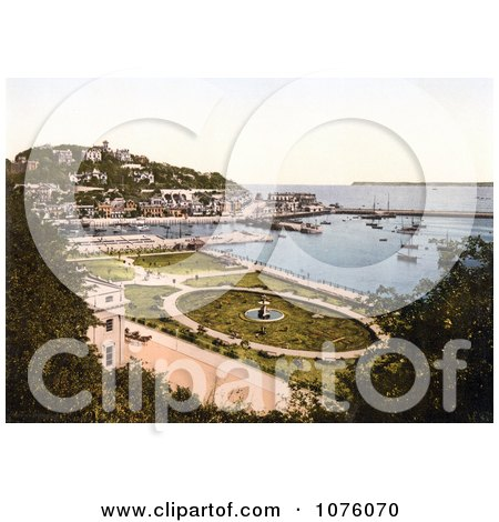 the Park Gardens and Waterfront Buildings on the Harbour in Torquay Torbay Devon England UK - Royalty Free Stock Photography  by JVPD