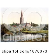 The Salisbury Cathedral On The River Nadder In Salisbury Wiltshire England UK Royalty Free Stock Photography