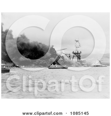 The USS Arizona in Flames - Free Stock Photography by JVPD