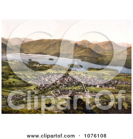 the Village of Keswick Near the Lake of Derwentwater and Mountains Lake District Allerdale Cumbria England UK - Royalty Free Stock Photography  by JVPD