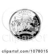 Three Wild Mustangs At Sunset On The Nevada State Quarter Royalty Free Stock Photography