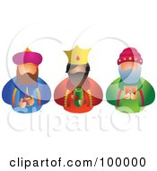 Royalty Free RF Clipart Illustration Of The Three Kings Facing Front