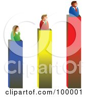 Royalty Free RF Clipart Illustration Of A Business Team On Bar Graph Results by Prawny