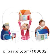 Royalty Free RF Clipart Illustration Of A Group Of Realtors Holding Houses