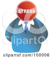 Royalty Free RF Clipart Illustration Of A Businessman With A Stress Sign Face by Prawny