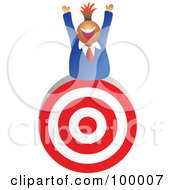 Royalty Free RF Clipart Illustration Of A Businessman On Top Of A Target