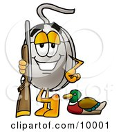 Computer Mouse Mascot Cartoon Character Duck Hunting Standing With A Rifle And Duck