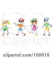 Royalty Free RF Clipart Illustration Of Stick Summer Children Wearing Hats