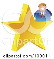 Royalty Free RF Clipart Illustration Of A Businessman On A Gold Star by Prawny