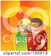 Royalty Free RF Clipart Illustration Of A Summer Couple Walking Under The Sun