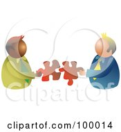 Royalty Free RF Clipart Illustration Of Businessmen Connecting Puzzle Pieces by Prawny