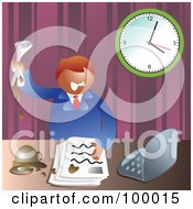 Royalty Free RF Clipart Illustration Of A Stressed Business Man Making A Mess At His Desk