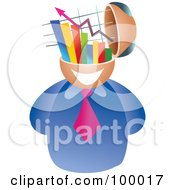 Royalty Free RF Clipart Illustration Of A Businessman With A Statistics Brain by Prawny