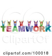 Royalty Free RF Clipart Illustration Of A Business Team Celebrating On TEAMWORK