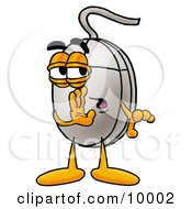 Clipart Picture Of A Computer Mouse Mascot Cartoon Character Whispering And Gossiping