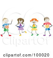 Royalty Free RF Clipart Illustration Of Stick Children Reading by Prawny
