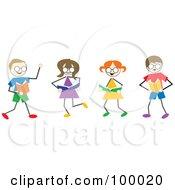 Royalty Free RF Clipart Illustration Of Stick Children Reading