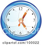 Royalty Free RF Clipart Illustration Of A Businessman On A Blue Wall Clock by Prawny