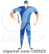 Royalty Free RF Clipart Illustration Of A Male Surgeon In Blue Scrubs Holding A Scalpel by Prawny
