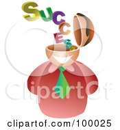 Royalty Free RF Clipart Illustration Of A Businessman With A Success Brain by Prawny