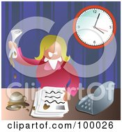Royalty Free RF Clipart Illustration Of A Stressed Business Woman Making A Mess At Her Desk by Prawny