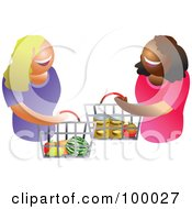 Royalty Free RF Clipart Illustration Of Happy Women Carrying A Shopping Basket