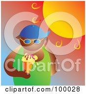 Royalty Free RF Clipart Illustration Of A Man Eating An Ice Cream Cone Under The Hot Summer Sun