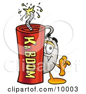 Clipart Picture Of A Computer Mouse Mascot Cartoon Character Standing With A Lit Stick Of Dynamite