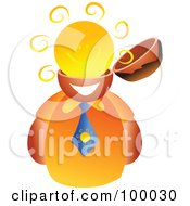 Royalty Free RF Clipart Illustration Of A Businessman With A Sun Brain by Prawny