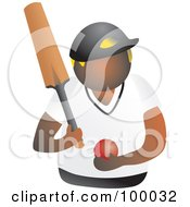 Royalty Free RF Clipart Illustration Of A Cricketer Holding A Ball And Bat by Prawny