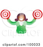 Royalty Free RF Clipart Illustration Of A Businesswoman Holding Targets