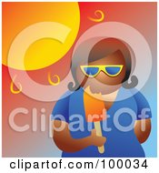 Royalty Free RF Clipart Illustration Of A Woman Eating A Popsicle In The Hot Summer Heat
