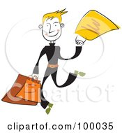 Royalty Free RF Clipart Illustration Of A Man In Black Carrying Shopping Bags by Prawny