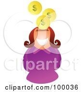Royalty Free RF Clipart Illustration Of A Businesswoman With A Slot Head And Pound Coins by Prawny