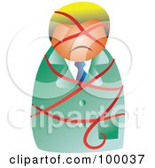Royalty Free RF Clipart Illustration Of A Businessman Tied Up In A Red Ribbon