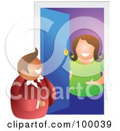 Royalty Free RF Clipart Illustration Of A Woman Opening A Door To See A Salesman