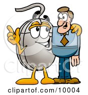 Clipart Picture Of A Computer Mouse Mascot Cartoon Character Talking To A Business Man
